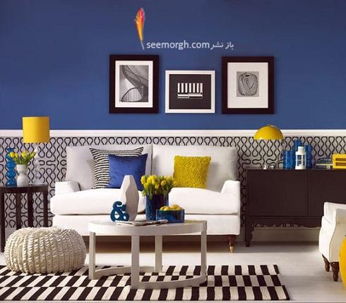 دکوراسیون داخلی منزل فضای نشیمن ترکیب آبی و زرد,دکوراسیون داخلی، ترکیب رنگ، دکوراسیون داخلی منزل