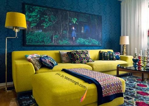 ترکیب رنگ آب و زرد و ایجاد فضایی جذاب در نشیمن,دکوراسیون داخلی، ترکیب رنگ، دکوراسیون داخلی منزل