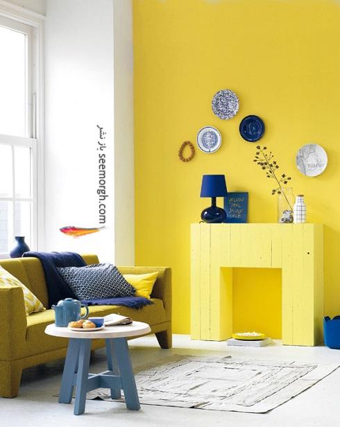 دکوراسیون داخلی منزل با ترکیب آبی و زرد,دکوراسیون داخلی، ترکیب رنگ، دکوراسیون داخلی منزل