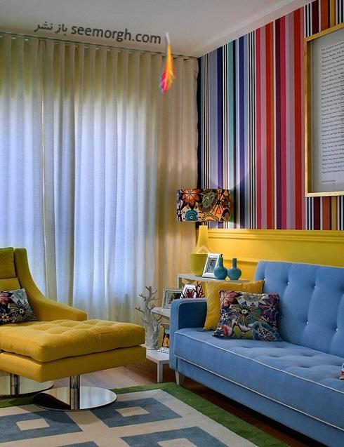 دکوراسیون داخلی با ترکیب رنگ های آبی و زرد,دکوراسیون داخلی، ترکیب رنگ، دکوراسیون داخلی منزل