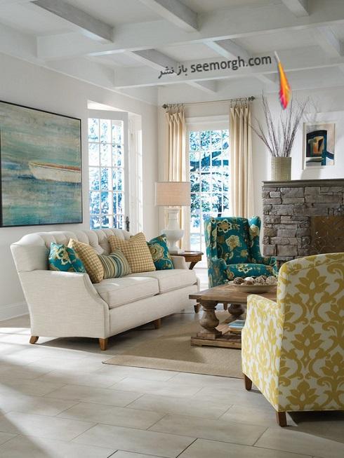 دکوراسیون داخلی اتاق نشیمن,دکوراسیون داخلی نشیمن با ترکیب رنگهای آبی و زرد,دکوراسیون داخلی، ترکیب رنگ، دکوراسیون داخلی منزل