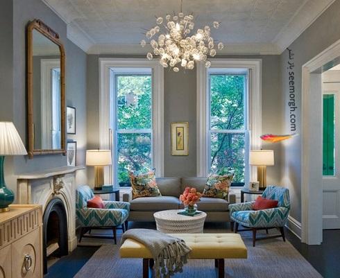 دکوراسیون داخلی فضای نشیمن با ترکیب آبی و زرد,دکوراسیون داخلی، ترکیب رنگ، دکوراسیون داخلی منزل