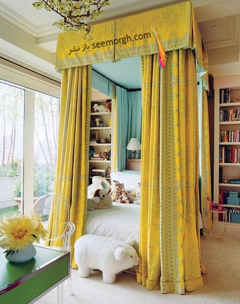دکوراسیون اتاق خواب مستر با ترکیب آبی و زرد,دکوراسیون داخلی، ترکیب رنگ، دکوراسیون داخلی منزل
