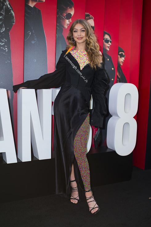 مدل لباس در اولین اکران فیلم Ocean's 8 - جی جی حدید Gigi Hadid با لباسی از برند ورا ونگ Vera Wang