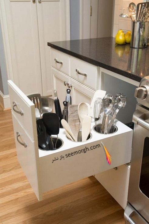فضای مخفی در آپارتمان کوچک : کشو آشپزخانه