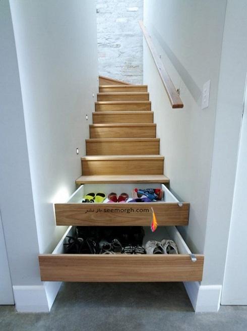 فضای مخفی در آپارتمان کوچک : کشو زیر پله
