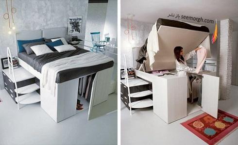 فضای مخفی در آپارتمان کوچک : فضای زیر تخت