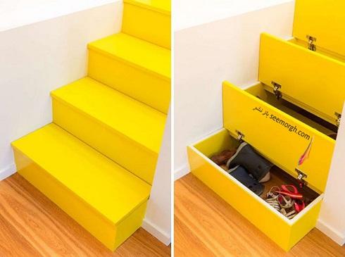 فضای مخفی در آپارتمان کوچک : قفسه های مخفی راه پله