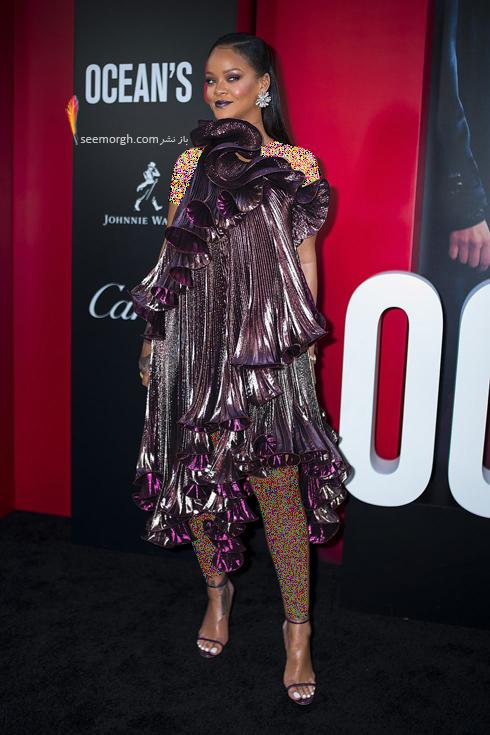 مدل لباس در اولین اکران فیلم Ocean's 8 - ریحانا Rihanna با لباسی از برند ژیونشی Givenchy و جواهراتی از برند بولگاری Bvlgari