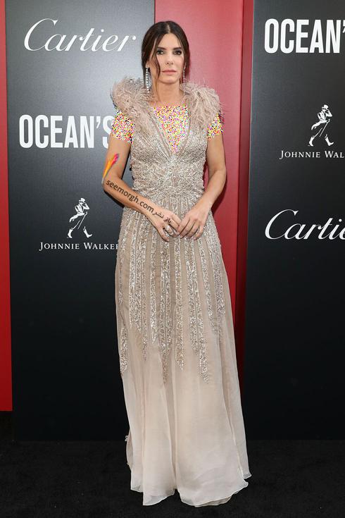 مدل لباس در اولین اکران فیلم Ocean's 8 - ساندرا بولاک Sandra Bullock با لباسی از برند الی شاب Elie Saab