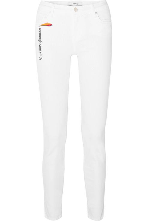 شلوار جین سفید فاق کوتاه چسب