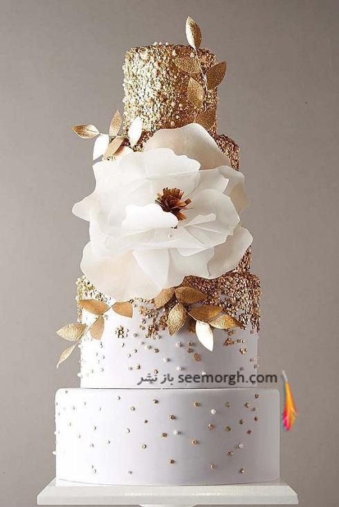 کيک عروسي,مدل کيک عروسي,مدل کيک عروسي با رنگ طلايي,کيک عروسي با تم طلايي و سفيد