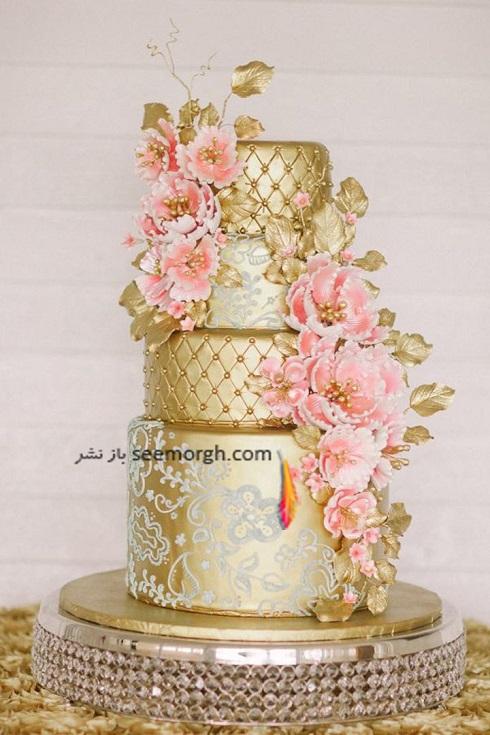 کيک عروسي طلايي,کيک عروسي به رنگ طلايي,کيک عروسي با ترکيب طلايي و صورتي