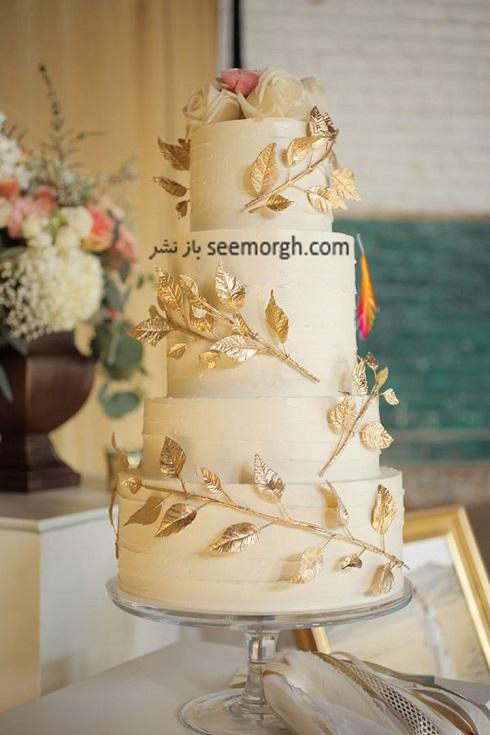کيک عروسي,کيک عروسي طلايي,مدل کيک عروسي,مدل کيک عروسي به رنگ طلايي,کيک عروسي با گل هاي طلايي