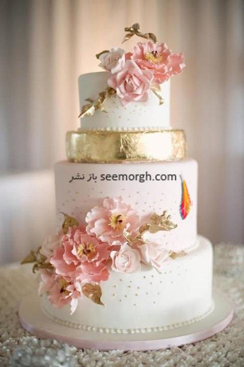 کيک عروسي به رنگ طلايي,کيک عروسي با ترکيب طلايي و سفيد و صورتي,مدل کيک عروسي,کيک عروسي با ترکيب رنگ سفيد، صورتي و طلايي