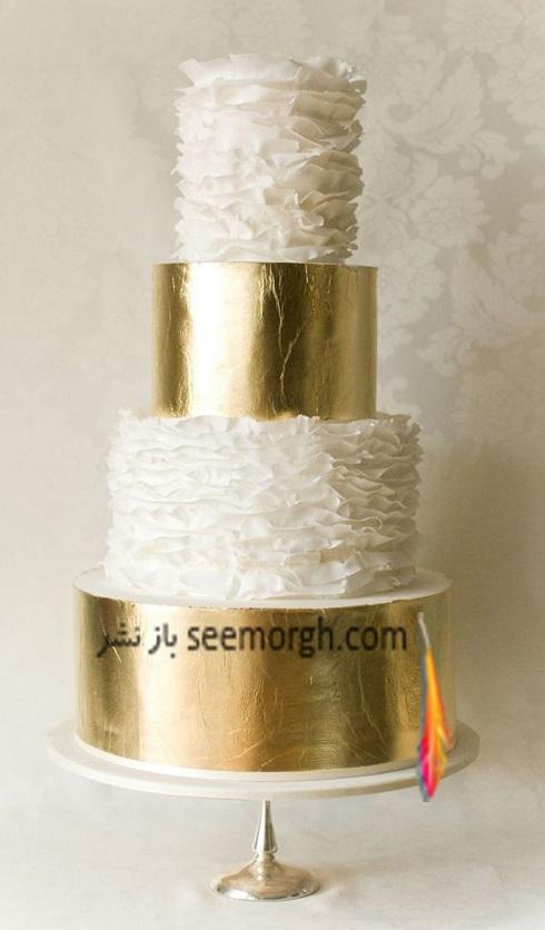 کيک عروسي,کيک عروسي با رنگ طلايي,مدل کيک عروسي,کيک عروسي دو رنگ طلايي و سفيد