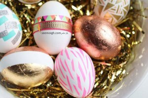 تزیین تخم مرغ سفره هفت سین با نگین و پودر اکلیل