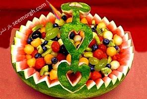هندوانه شب یلدا را به شکل یک ظرف میوه تزیین کنید + آموزش تصویری