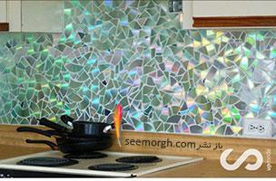 دیوار آشپزخانه تان را با سی دی های قدیمی زیبا و لوکس کنید