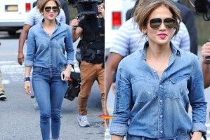 ست کردن شلوار جین پاییزی به سبک جنیفر لوپز