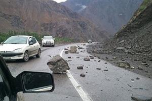 Image result for ?ریزش دوباره کوه در جاده چالوس?