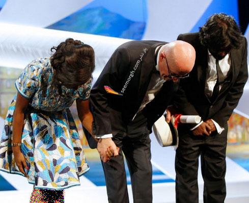 ژاک اودیار و دو کمدین فیلم dheepan در اختتامیه جشنواره کن 2015
