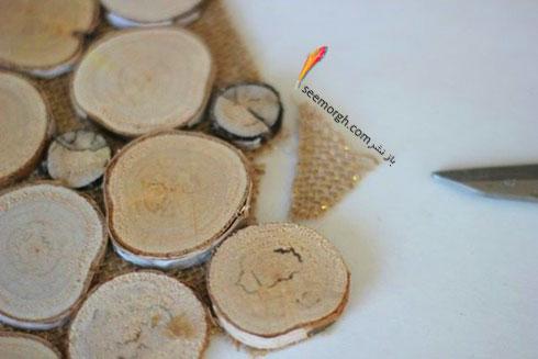 برای درست کردن زیربشقابی چوبی، آنها را روی گونی بچسبانید