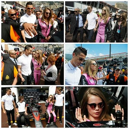 کریس رونالدو و کارا دلیوینیه در مسابقات فرمول یک