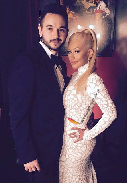 کریستینا اگیلرا در کنار همسرش پس از بارداری