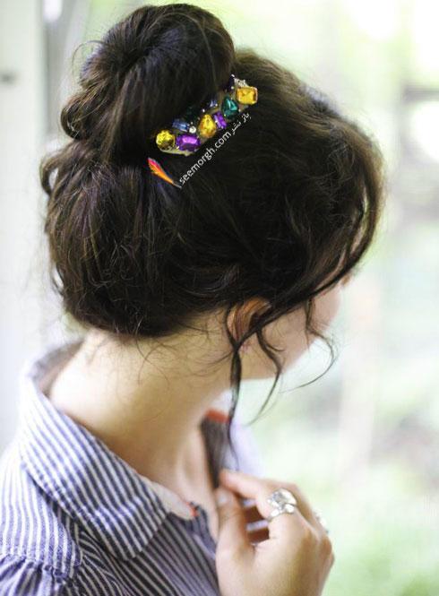 آموزش درست کردن گیره سر نگین دار بزرگ برای جمع کردن مو