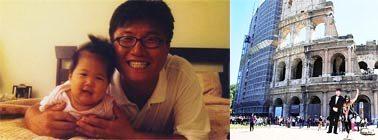 جینا یانگ و پدرش در زمان کودکی