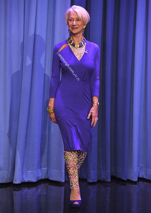 لباس طراحی شده آبی رنگ اسکادا Escada برای هلن میرن Helen Mirren