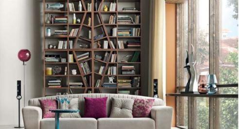 کتابخانه هایی بزرگ در دکوراسیون داخلی نشیمن