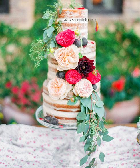 ایده هایی برای تزیین کیک عروسی با گل های طبیعی