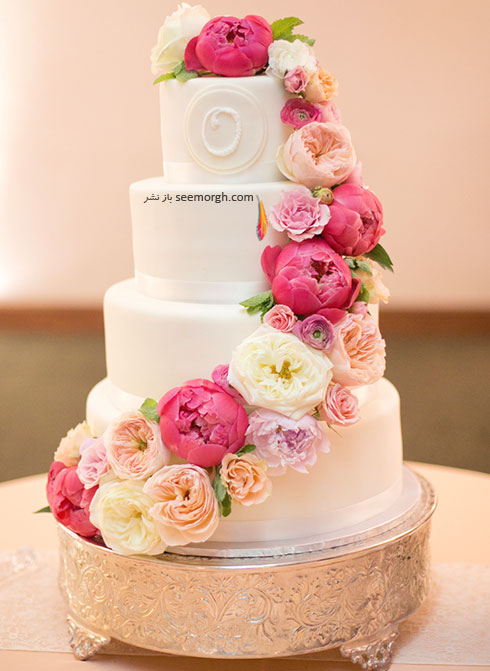 تزیین کیک با گل های طبیعی
