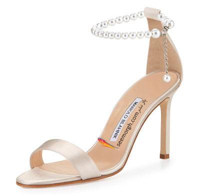 کفش عروس طرح دار از طراح اسپانیایی Manolo Blahnik برای تابستان 2015