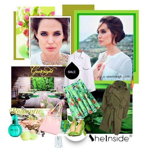 ست کردن لباس پاییزی به رنگ سبز به سبک آنجلینا جولی Anjelina Jolie
