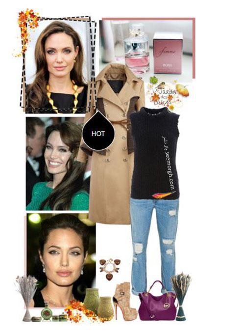 ست لباس پاییزی به سبک آنجلینا جولی Anjelina Jolie