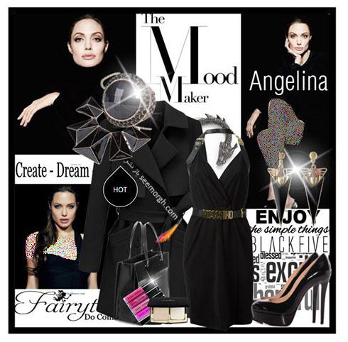 ست کردن لباس پاییزه به رنگ مشکی به سبک آنجلینا جولی Anjelina Jolie