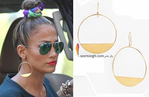 گوشواره گرد طلایی جنیفر لوپز Jennifer Lopez