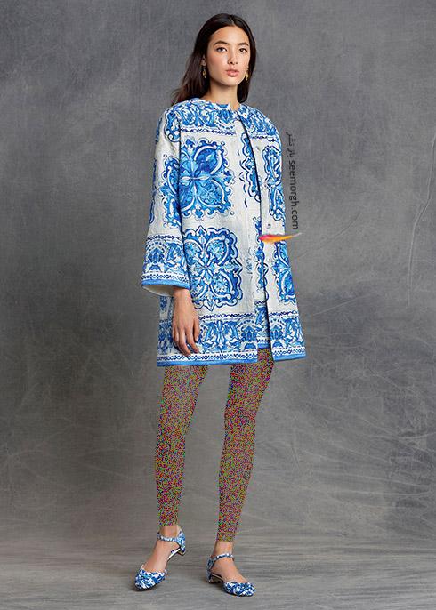 پیراهن زنانه آبی سفید دی اند جی D&G برای پاییز 2015