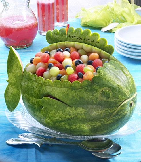تزیین هندوانه شب یلدا به شکل ماهی شکم پر