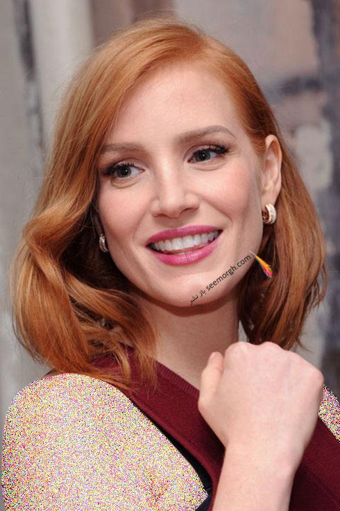رنگ موی بلوند مسی برای زمستان 2015 به سبک جسیکا چستین Jessica Chastain