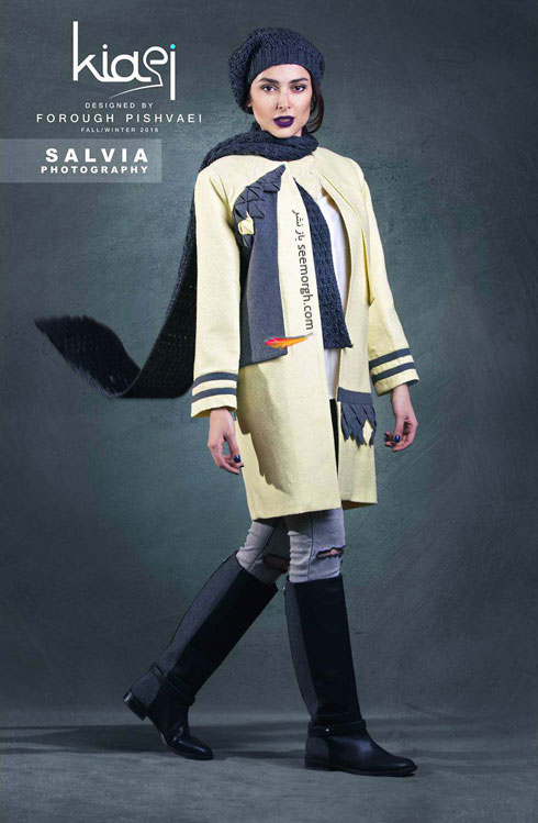 پالتو طرح دار زنانه برند خانم کیایی برای زمستان 1394