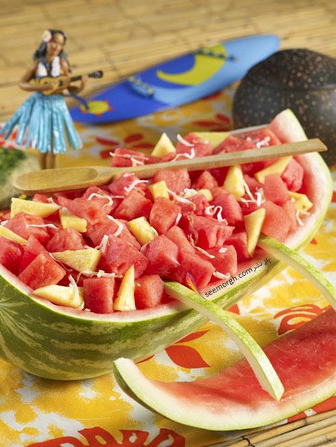 تزیین هندوانه شب یلدا به شکل قایق
