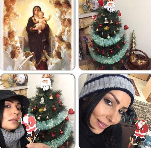 درخت کریسمس در منزل پرستو صالحی