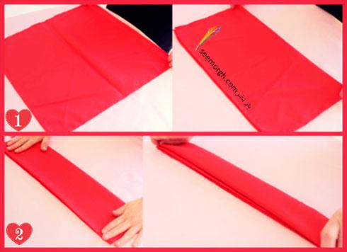 مرحله اول تزیین دستمال سفره به شکل گل رز