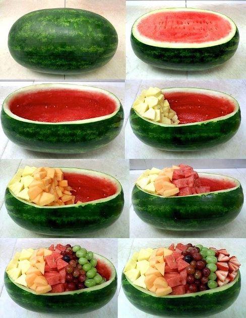 تزیین هندوانه شب یلدا به صورت ظرف میوه