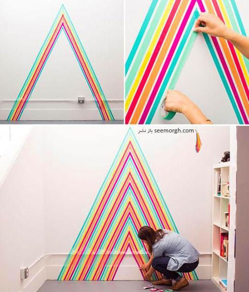 مرحله چهارم درست کردن کاغذ دیواری با نوارهای رنگی