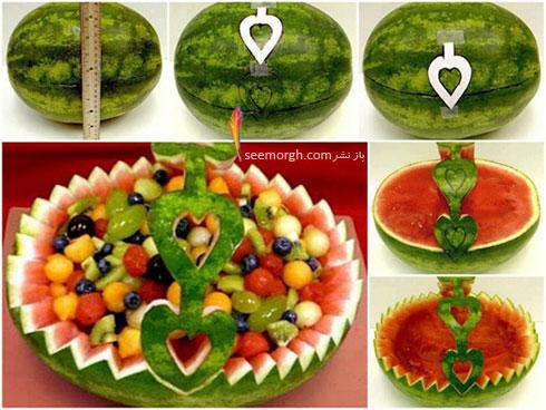 آموزش تزیین هندوانه به شکل ظرف میوه برای شب یلدا